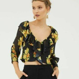 Cooper St Cinnamon Crop Floral Top NEW